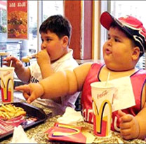 obese boys eating fastfood