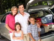 travel and diabetes: Picture of family packed for car travel