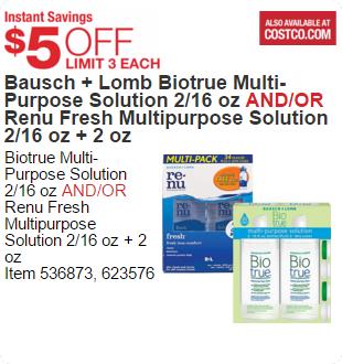 Bausch + Lomb Biotrue Multi-Purpose Solution 2/16 oz AND/OR Renu Fresh Multipurpose Solution 2/16 oz + 2 oz
