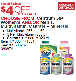 Centrum 50+ Women's AND/OR Men's, Multivitamin, Caltrate + Minerals