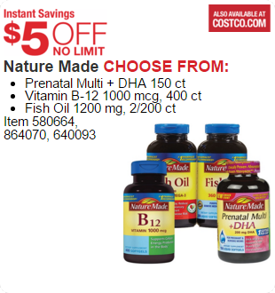 Nature Made CHOOSE FROM:  Prenatal Multi + DHA 150 ct Vitamin B-12 1000 mcg, 400 ct Fish Oil 1200 mg, 2/200 ct