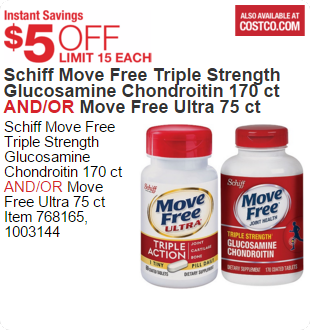 Schiff Move Free Triple Strength Glucosamine Chondroitin 170 ct AND/OR Move Free Ultra 75 ct